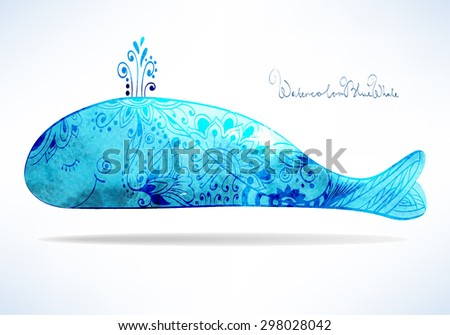 Decorative watercolor whale with fantasy pattern - stock vector