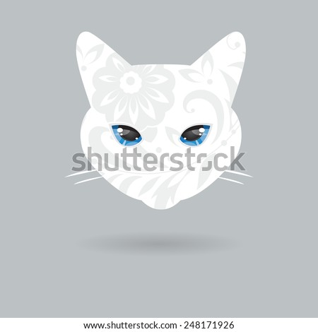 Decorative white cat with blue eyes on a gray background