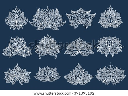 Decorative white paisley flowers with intricate oriental lace ornament on curved petals. Floral patterns for indian textile, persian carpet or tile design usage - stock vector