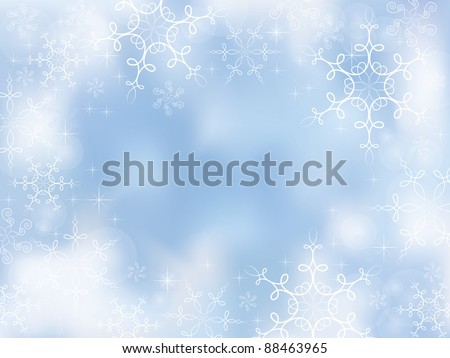 Decorative winter background with calligraphic snowflakes - stock vector
