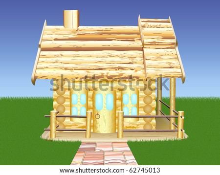 Decorative wooden house against the blue sky - stock vector