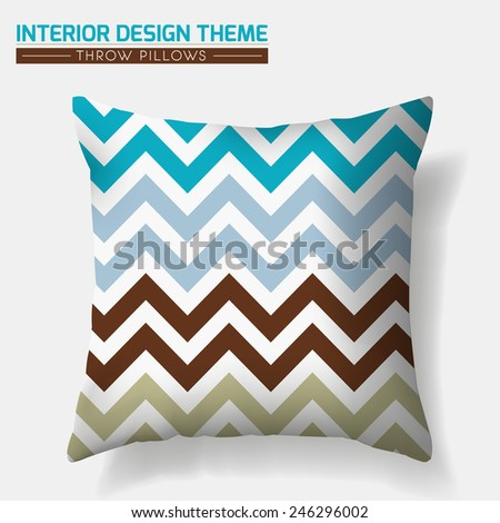 Decorative Zig Zag Throw Pillow design template. Original pattern in Turquoise & Brown is masked. Modern interior design element. Creative Sofa Toss Pillow. Vector design is layered, editable  - stock vector