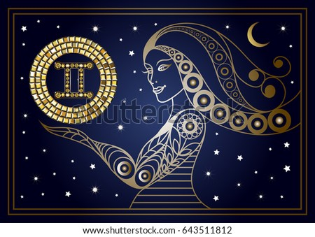 Decorative Zodiac Sign Gemini Horoscope And Astrology Astronomy Symbol Suitable For Invitation