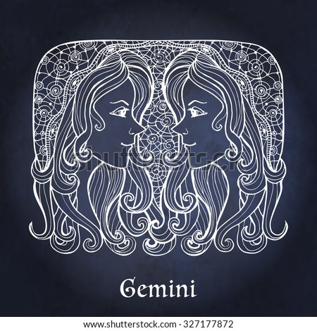 Decorative Zodiac sign Gemini on night sky background in zentangle style