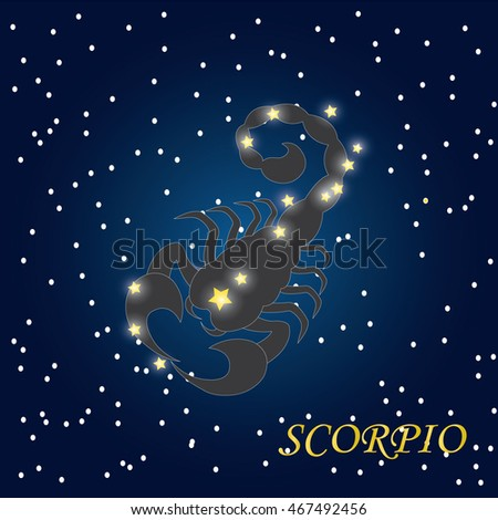 Decorative Zodiac sign Scorpio on night sky background