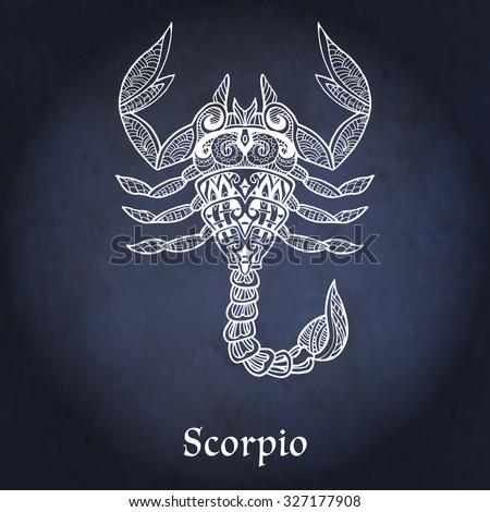 Decorative Zodiac Sign Scorpio On Night Sky Background In Zentangle Style