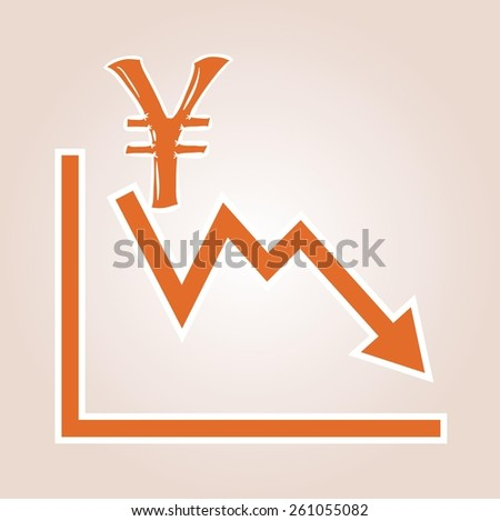 decreasing graph with yen symbol on red gradient background - stock vector