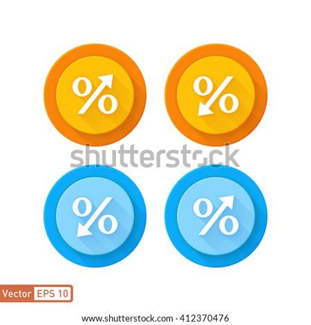 Decreasing percentage and increase percentage symbol vector icon  - stock vector