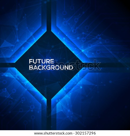 Deep blue geomepric abstract technology background. Vector - stock vector