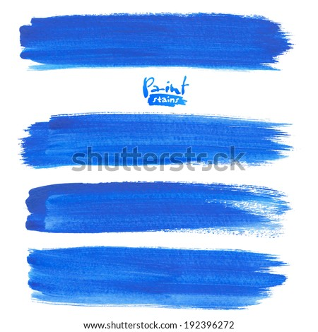 Deep blue watercolor brush strokes, vector elements for your design - stock vector