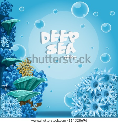 Deep sea blue background with actin and corals - stock vector