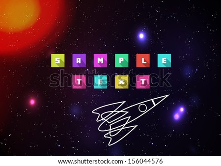 Deep space background with Star and Retro Spaceship - Vector Illustration - stock vector
