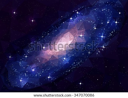 Deep Space Galaxy Andromeda. Low Poly. - stock vector