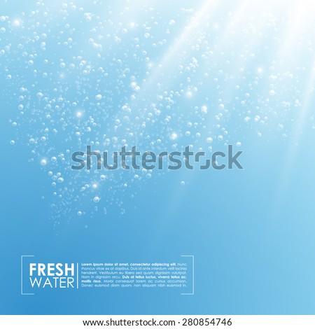 Deep Water Bubbles Illuminated By Rays Of Light Vector Illustration - stock vector