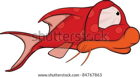 Deep water fish.Coral small fish. Cartoon - stock vector