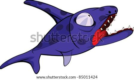 Deep water fish.Coral small fish . Cartoon - stock vector