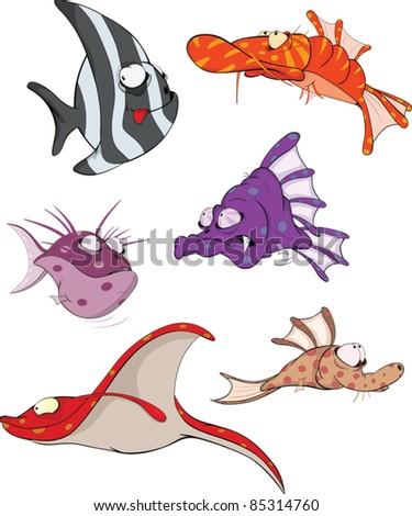 Deep water fish.Coral small fish Clip Art. Cartoon - stock vector