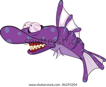 Deep water fish.Coral small fish. Predator. Cartoon - stock vector
