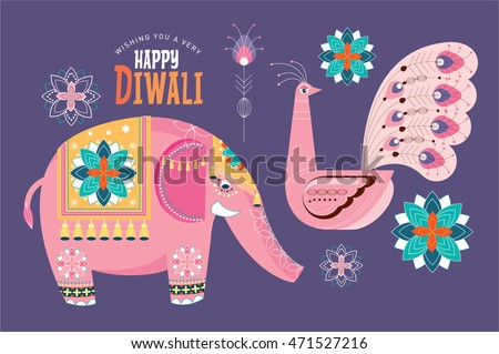 deepavali / diwali elements vector/illustration