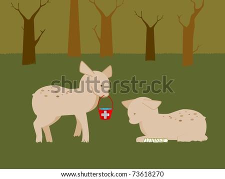 Deer Assistance - stock vector