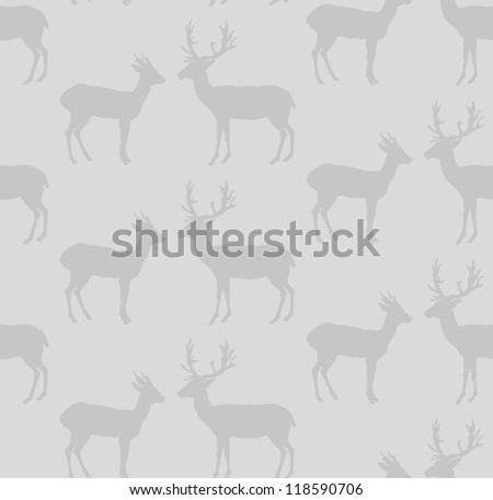 Deer couple seamless pattern. Vector illustration