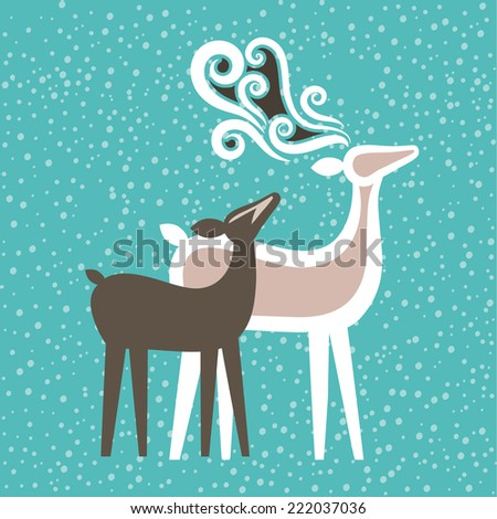 deer couple with soft snow  background  - stock vector