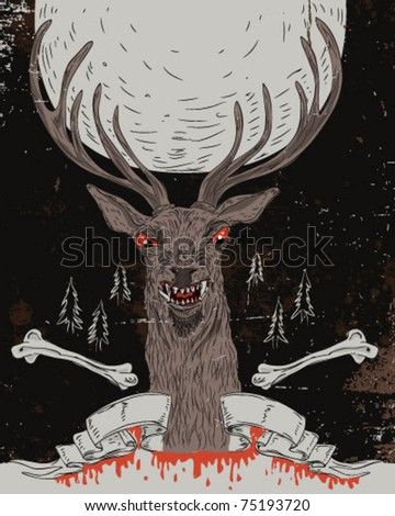 Deer - hand draw - stock vector