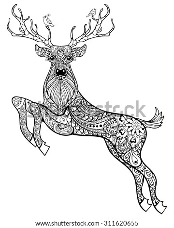 deer hand drawn christmas magic horned deer with birds for adult anti stress coloring page - Deer Coloring Pages