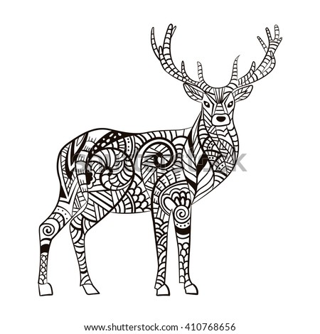 Deer Hand Drawn For Adult Anti Stress Coloring Page With High Details Isolated On