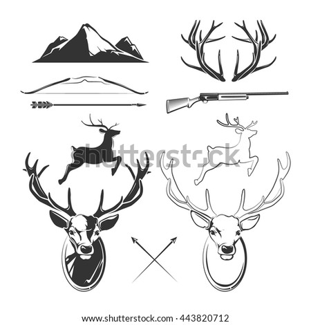 Deer head elements constructor for vintage hunting and hipster labels. Vector illustration - stock vector