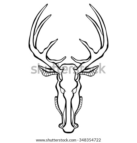 Deer Head Icon black and white. This is illustration in style of heraldry. Print for a mascot and T-shirt or game graphic. Can be used for tattoo.