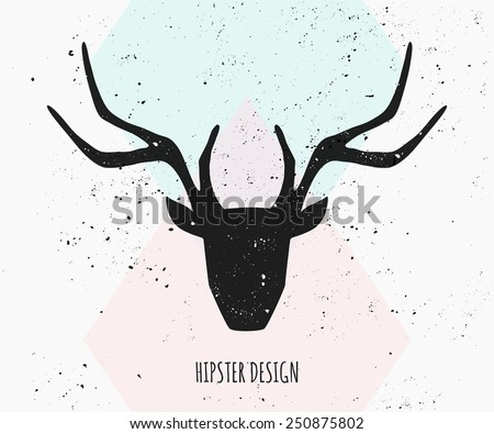 Deer head silhouette in black on an abstract geometric background in pastel colors. - stock vector