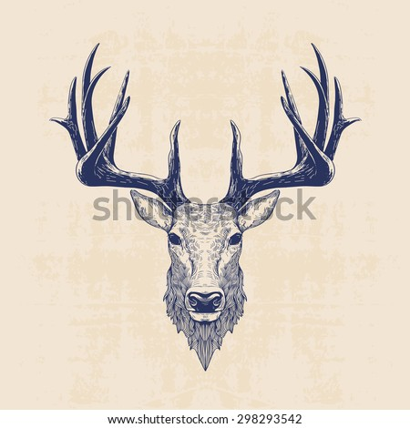 Deer head vintage hand drawn illustration