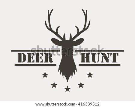 Deer hunt. Hunting club logo in vintage style. Vector illustration. - stock vector