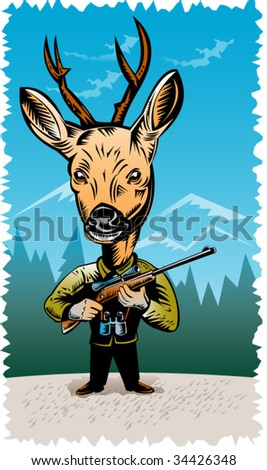 Deer hunter holding a rifle - stock vector