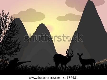 Deer hunting - stock vector