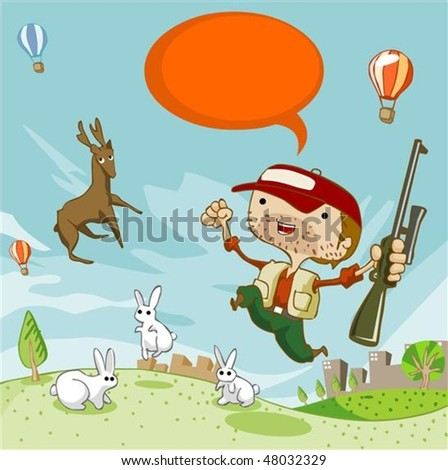 Deer Hunting in summer. Detailed vector illustration - stock vector