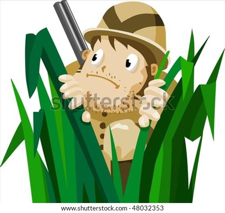 Deer Hunting in summer. Detailed vector illustration - stock vector