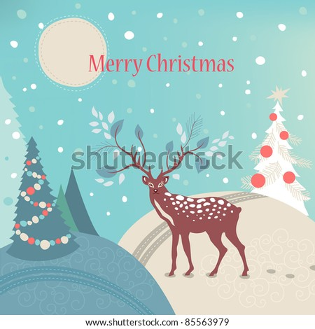 Deer in winter forest. Greeting card. - stock vector