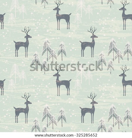 Deer in winter pine forest. Seamless pattern with hand drawn design for Christmas and New Year greeting cards, fabric, wrapping paper, invitation, stationery. - stock vector