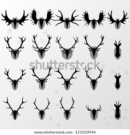Deer, moose and doe horns hunting trophy and coat of arms shields illustration collection background vector - stock vector