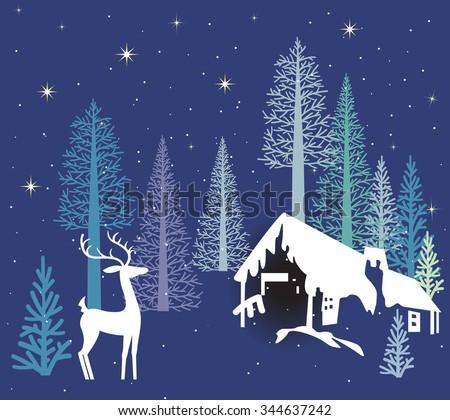 Deer on a winter's night Rural scene  - stock vector