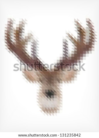 Deer Portrait Made of Small Triangles - stock vector