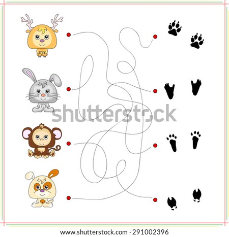 Deer, rabbit, monkey and dog with their traces of foot. Game for children: go through the maze and find the right answer - stock vector