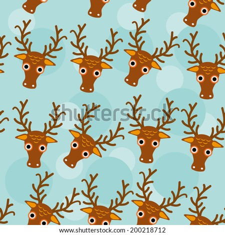 Deer Seamless pattern with funny cute animal face on a blue background. Vector - stock vector