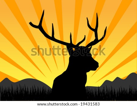 deer silhouette - stock vector