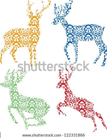 Deer Silhouette on white background - stock vector