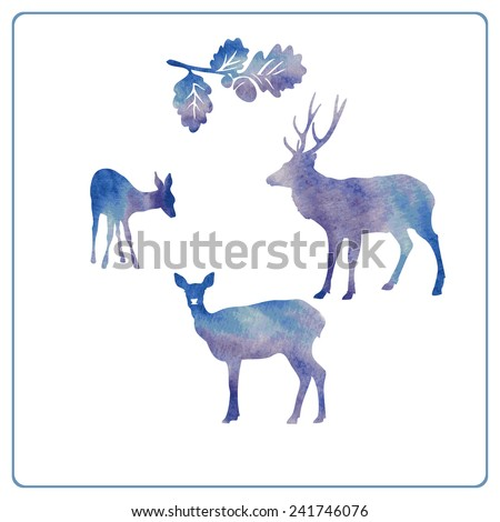 Deer silhouette set - stock vector