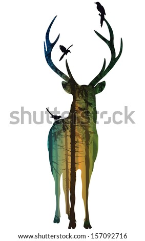 deer silhouette with birds. in coniferous forest with rays of the setting sun - stock vector