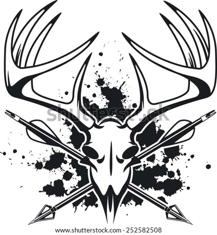 Deer Skull Crossing Hunting Arrows Stock Vector Royalty Free